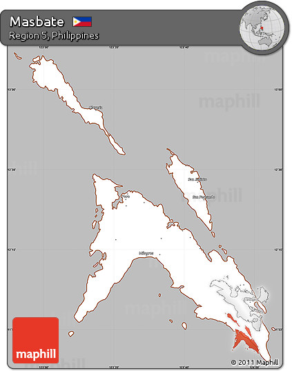 Masbate Philippines Map.Free Gray Simple Map Of Masbate Cropped Outside