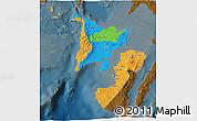 Political 3D Map of Region 6, darken