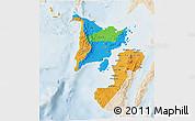 Political 3D Map of Region 6, lighten