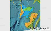 Political 3D Map of Region 6, satellite outside
