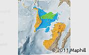 Political 3D Map of Region 6, semi-desaturated