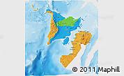 Political 3D Map of Region 6, single color outside