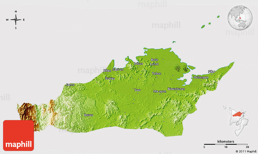 Capiz Philippines Map.Physical 3d Map Of Capiz Cropped Outside