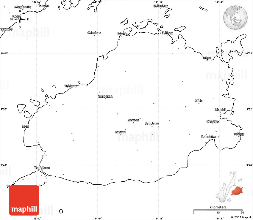 Blank Simple Map Of Bohol - Plain world map images
