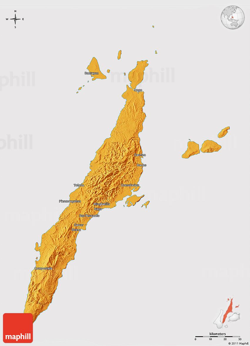 Political 3D Map of Cebu cropped outside