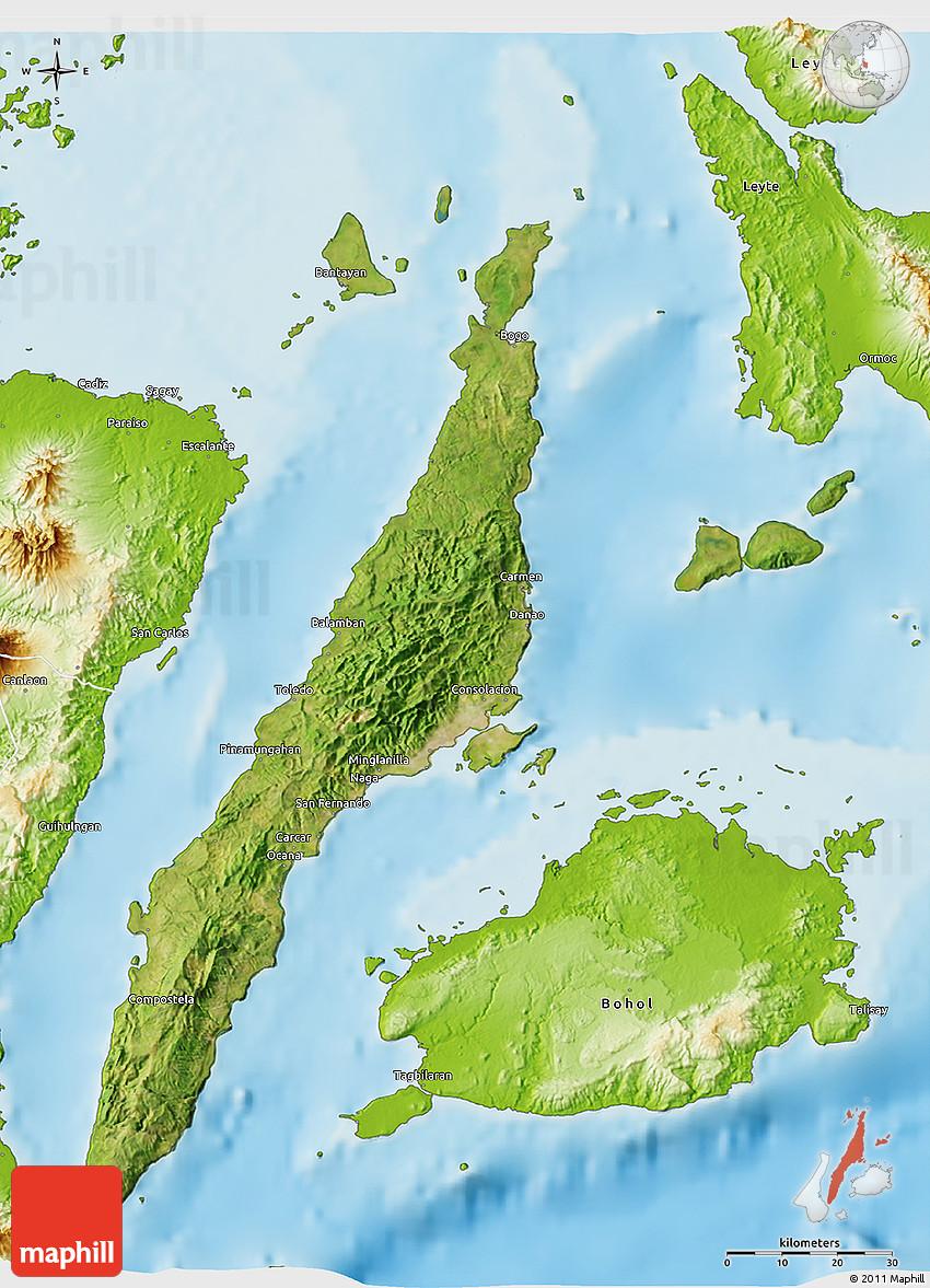 Satellite 3D Map of Cebu physical outside
