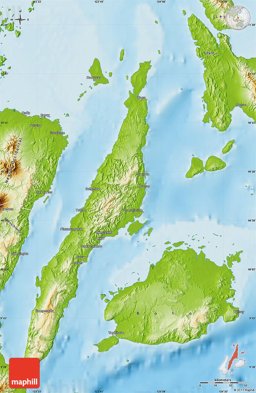 Physical Map of Cebu