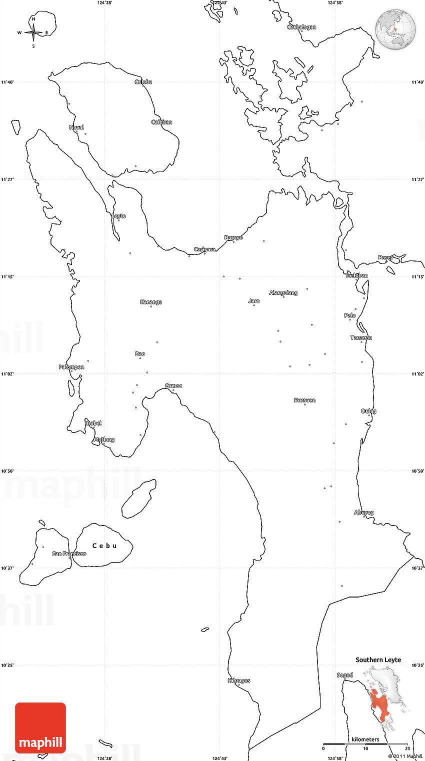 Blank Simple Map of Leyte