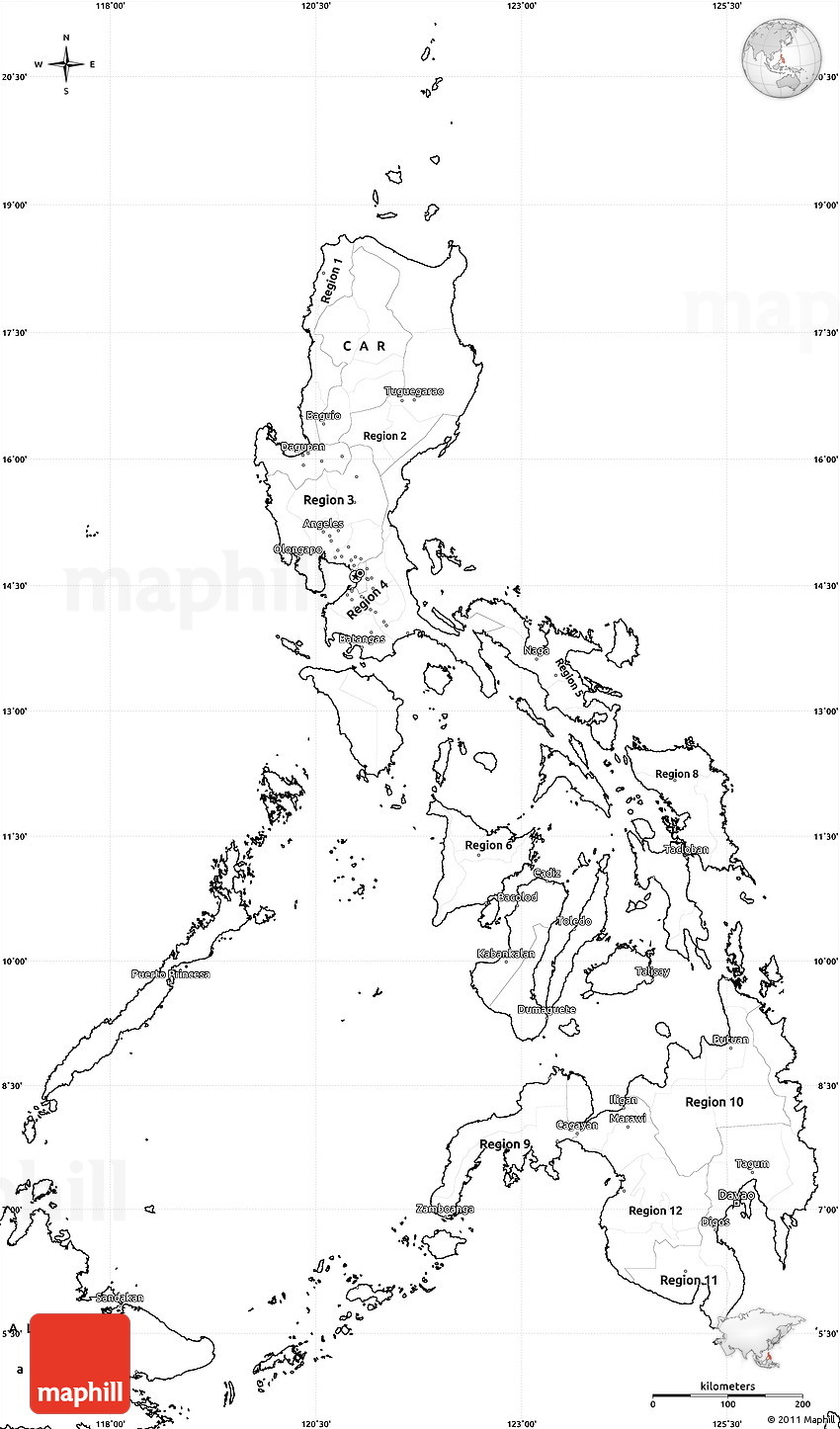 Blank Simple Map Of Philippines