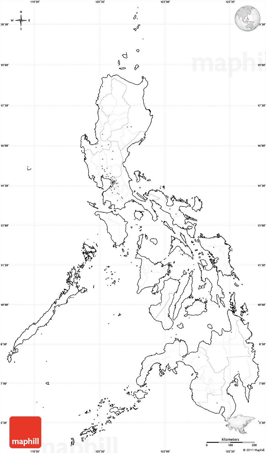 Simple Philippines Map.Blank Simple Map Of Philippines Cropped Outside No Labels