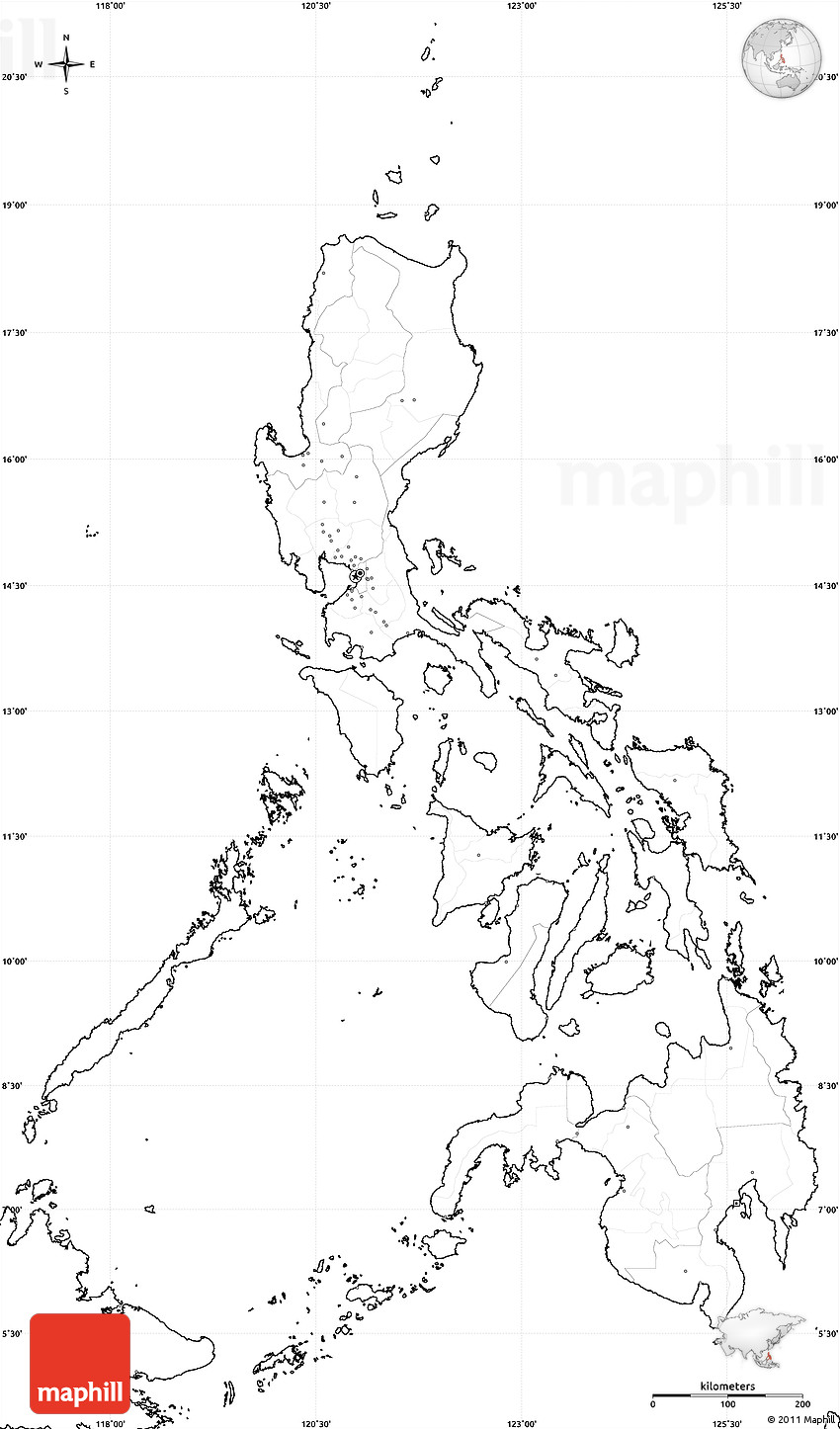 Blank Simple Map of Philippines no labels