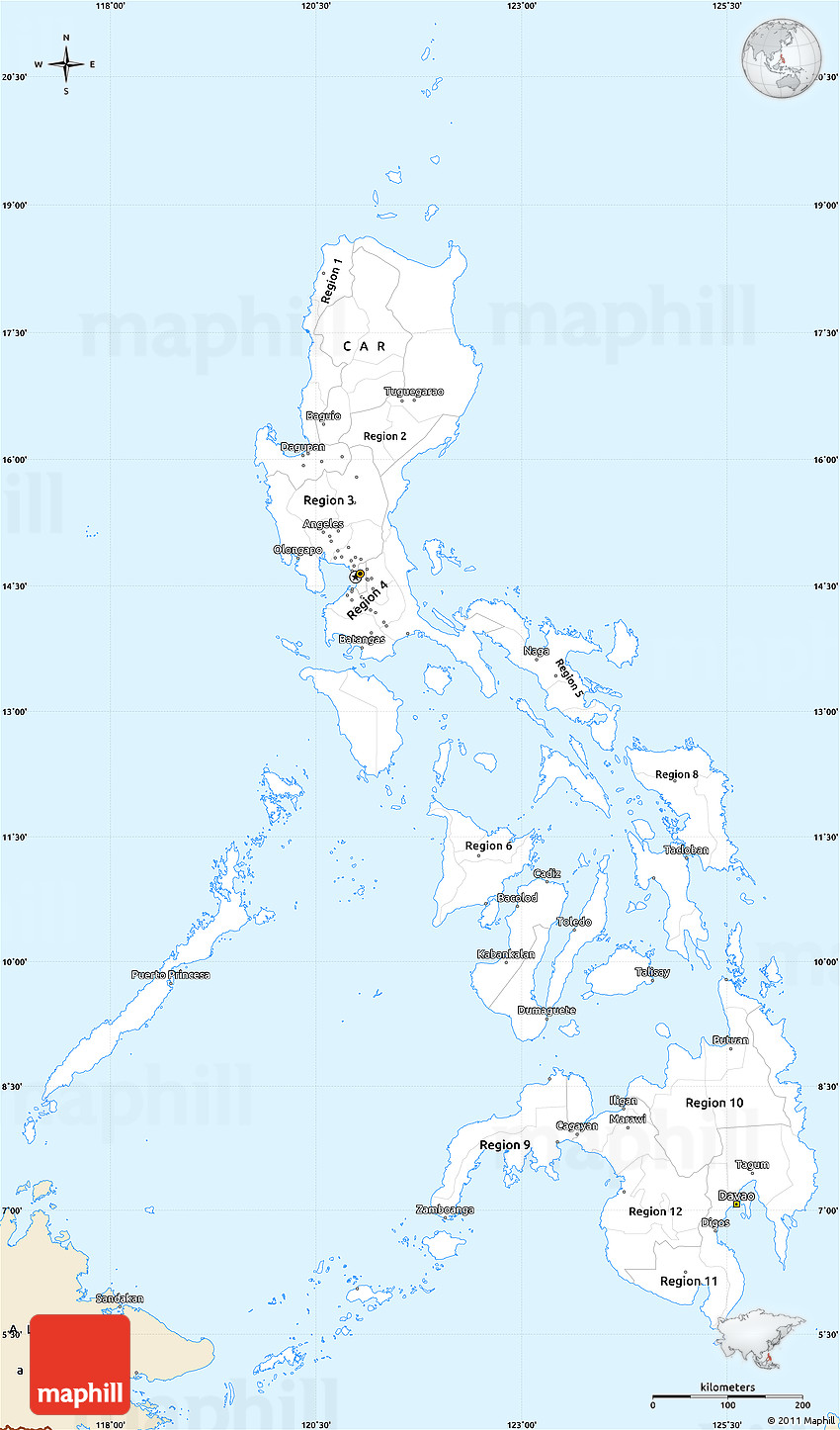 Philippines Map Black And White.Classic Style Simple Map Of Philippines