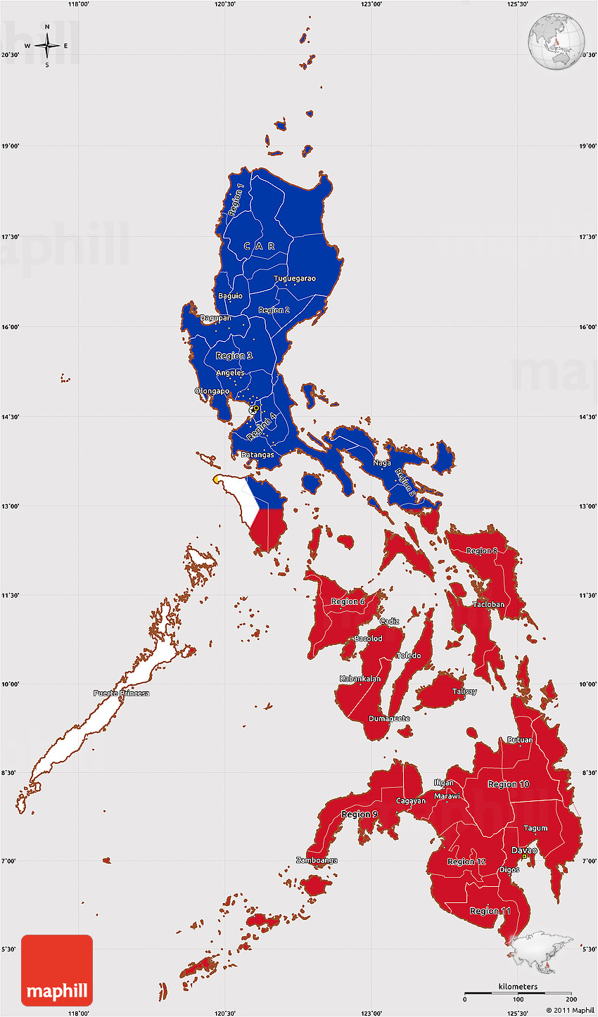 Simple Philippines Map.Flag Simple Map Of Philippines
