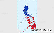 Flag Simple Map of Philippines, single color outside