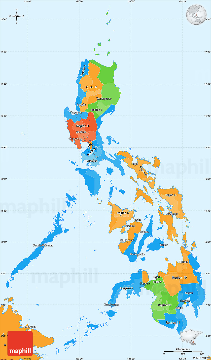 Political Simple Map of Philippines