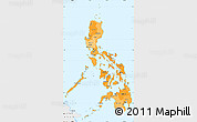 Political Shades Simple Map of Philippines, single color outside, borders and labels