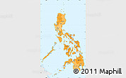 Political Shades Simple Map of Philippines, single color outside