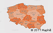 Political Shades 3D Map of Poland, cropped outside