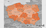 Political Shades 3D Map of Poland, desaturated