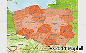 Political Shades 3D Map of Poland, physical outside