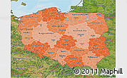 Political Shades 3D Map of Poland, satellite outside, bathymetry sea