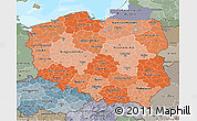 Political Shades 3D Map of Poland, semi-desaturated, land only