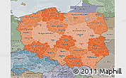 Political Shades 3D Map of Poland, semi-desaturated