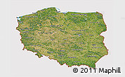 Satellite 3D Map of Poland, cropped outside