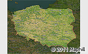 Satellite 3D Map of Poland, darken