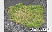 Satellite 3D Map of Poland, desaturated