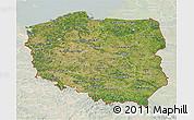 Satellite 3D Map of Poland, lighten