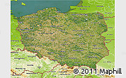 Satellite 3D Map of Poland, physical outside, satellite sea
