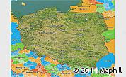 Satellite 3D Map of Poland, political outside, satellite sea