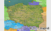 Satellite 3D Map of Poland, political shades outside, satellite sea