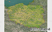Satellite 3D Map of Poland, semi-desaturated, land only