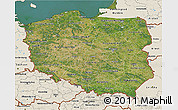 Satellite 3D Map of Poland, shaded relief outside, satellite sea