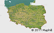 Satellite 3D Map of Poland, single color outside