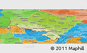 Physical Panoramic Map of Dolnoslaskie, political shades outside