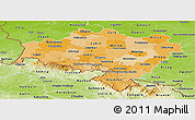 Political Shades Panoramic Map of Dolnoslaskie, physical outside