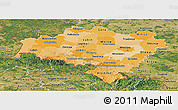 Political Shades Panoramic Map of Dolnoslaskie, satellite outside
