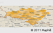 Political Shades Panoramic Map of Dolnoslaskie, shaded relief outside