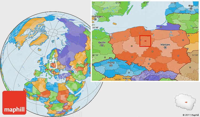 Political Location Map of Torun
