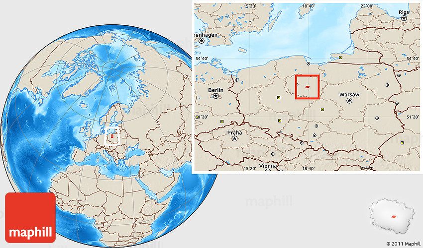 Shaded Relief Location Map of Torun