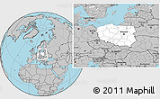 Blank Location Map of Poland, gray outside