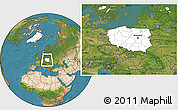 Blank Location Map of Poland, satellite outside