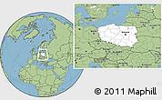 Blank Location Map of Poland, savanna style outside