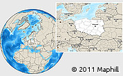 Blank Location Map of Poland, shaded relief outside