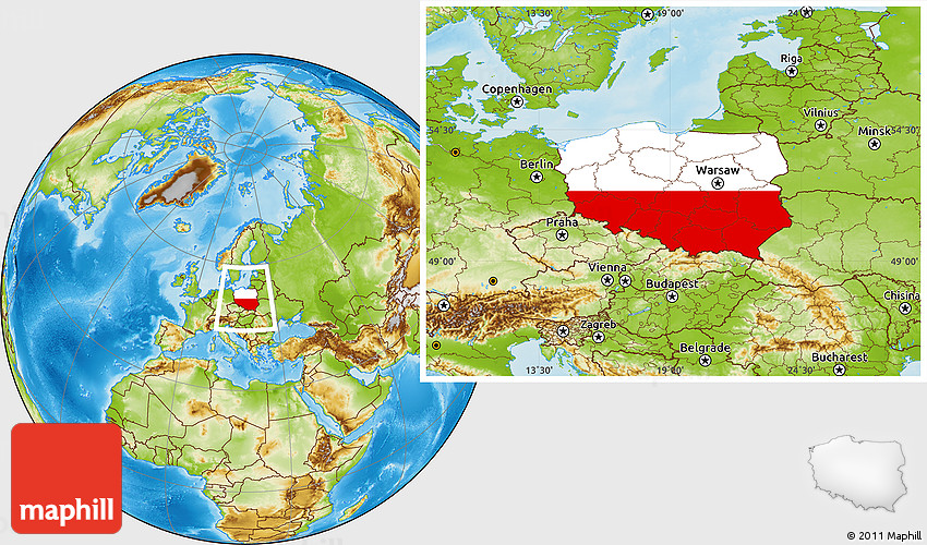 Flag Location Map of Poland, physical outside