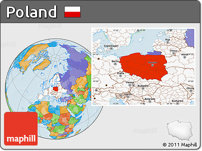 Free Political Location Map of Poland, highlighted continent