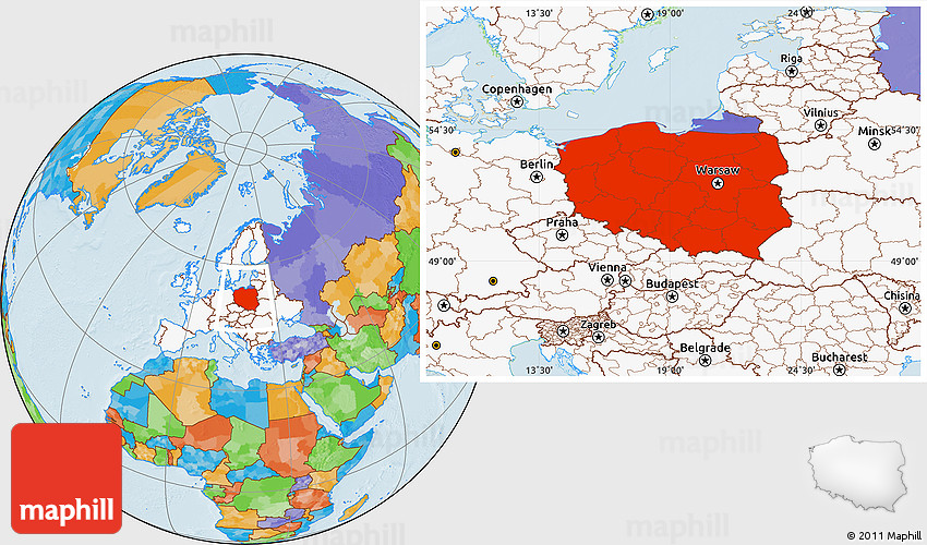 Political Location Map Of Poland Highlighted Continent - Poland political map